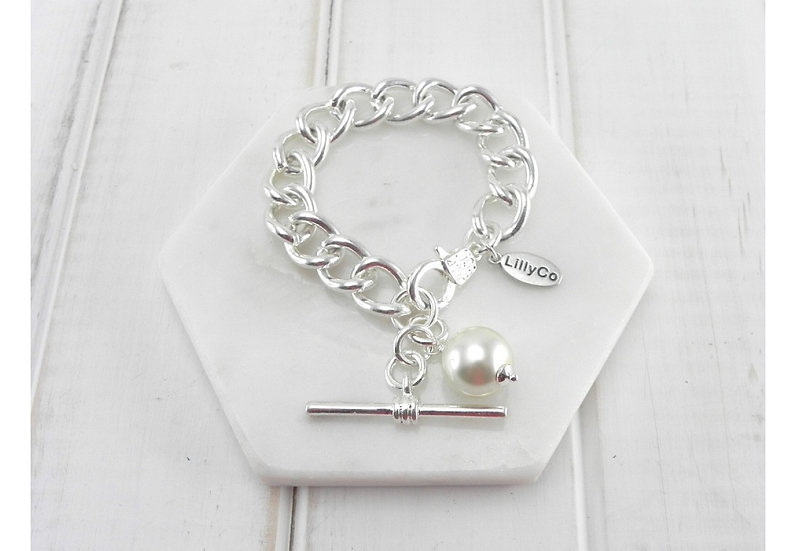 Chain Link with Pearl Bracelet