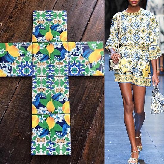 Lemon Dolce inspired Ceramic Tile Cross