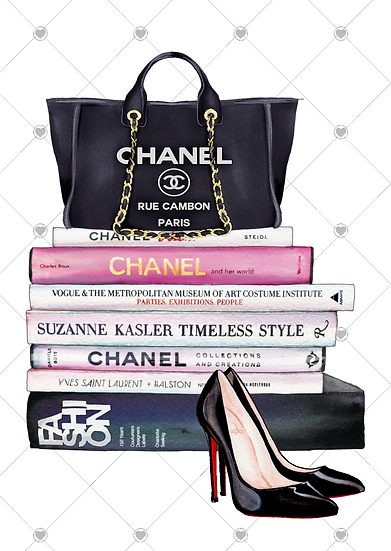 bag and shoe book stack french print fashion