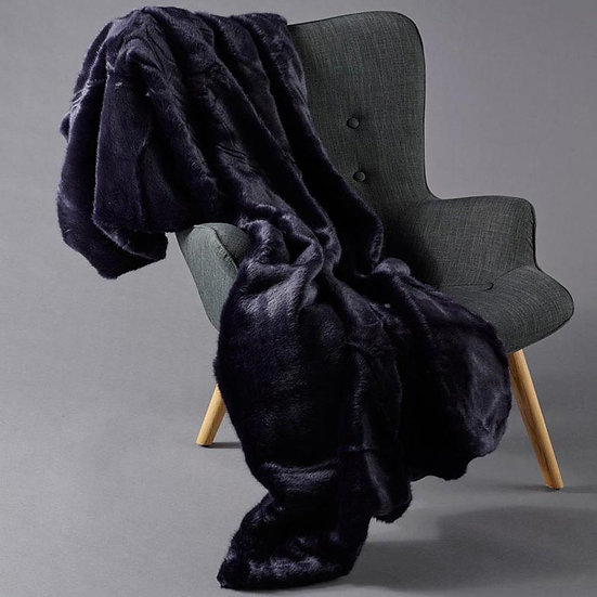 Midnight Blue faux fur throw with velvet back