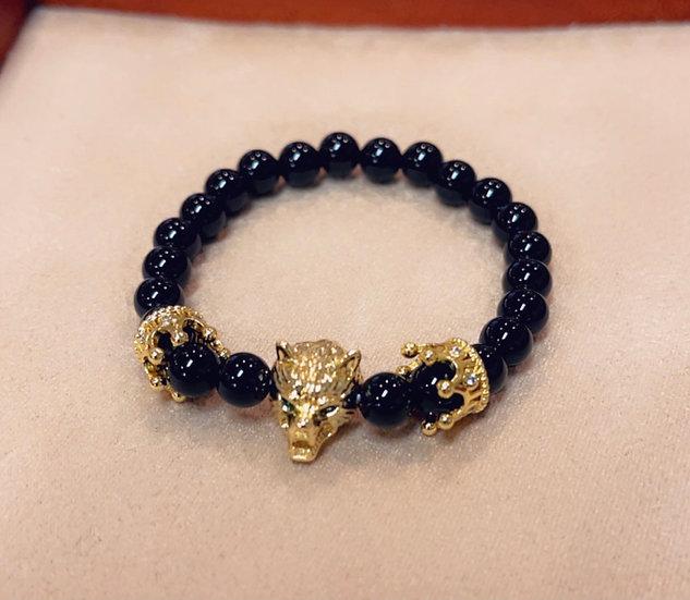 Children's onyx wolf bracelet