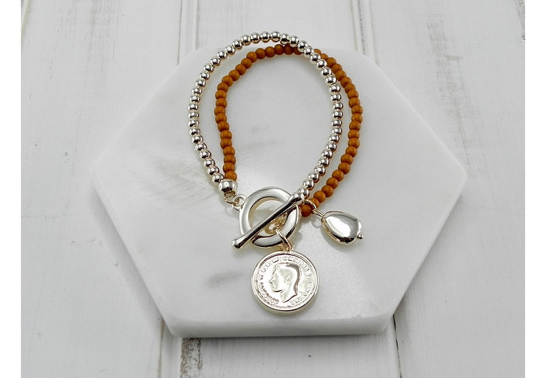Gold and mustard beads with gold coin bracelet