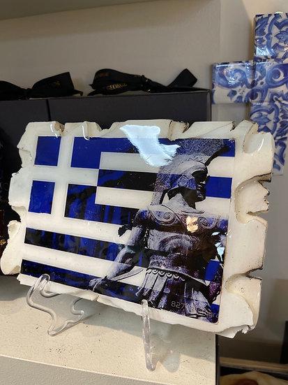 Greek flag on bamboo wood