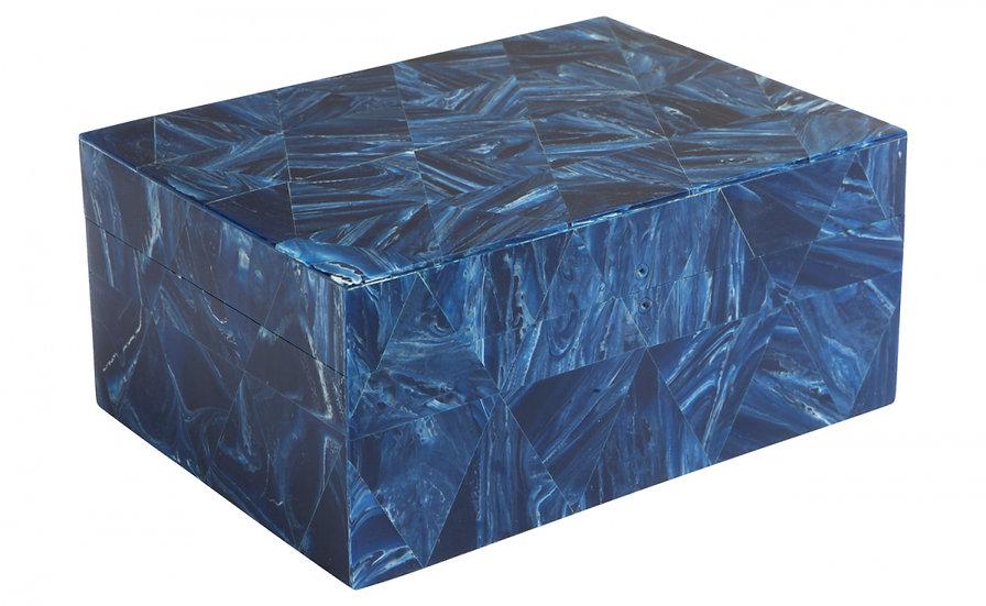 Medium Geometric Inlay Box Blue