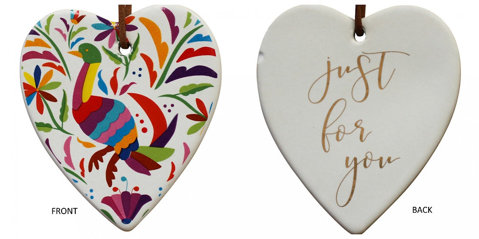 Hanging Ceramic Heart - Mexican Bird