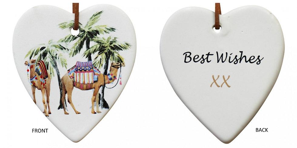 Hanging Ceramic Heart - Sahara scene