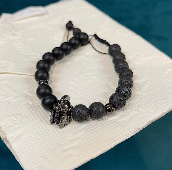 Spartan bracelet onyx & volcanic bead 8mm