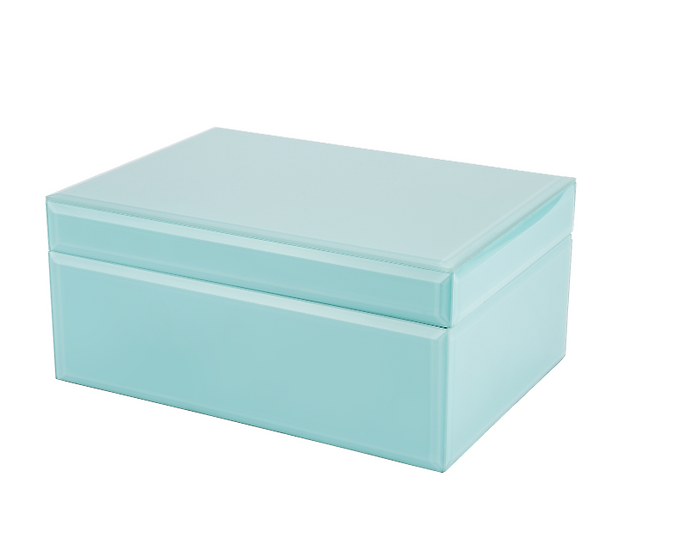 Teal Glass jewellery Box - Large