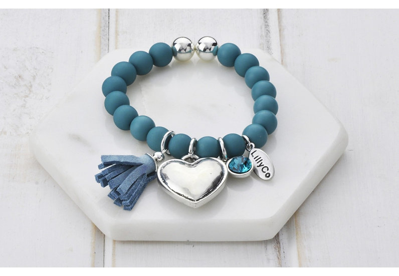 Teal Blue Beads With Heart and Tassel Bracelet