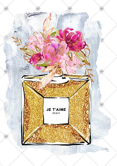 Fashion print gold bottle
