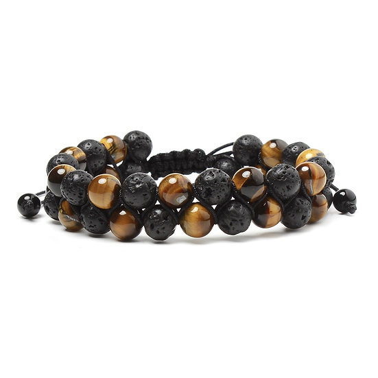 Double Tiger Iron & lava stone bracelet