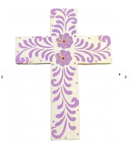 Single Cross Hand Painted White and Lavender (Small)