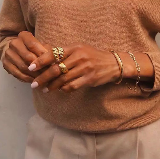 Croissant ring - 925 silver (triple gold plated)