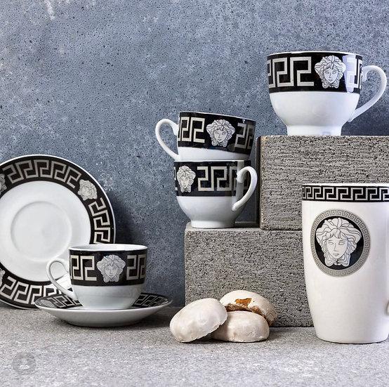 Medusa espresso cups & saucers - Black/Silver