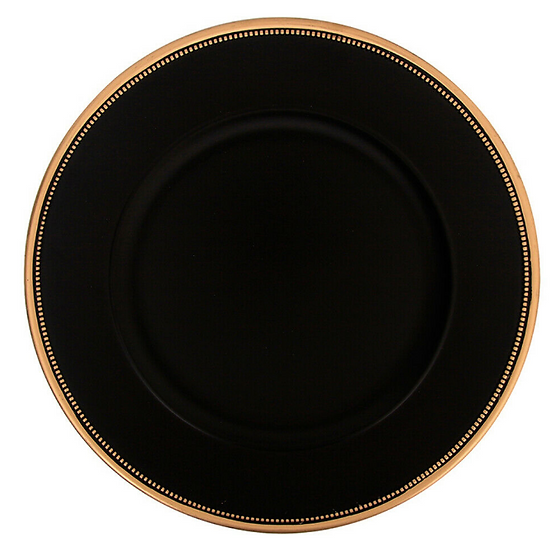 Black charge plate with gold edge 33m