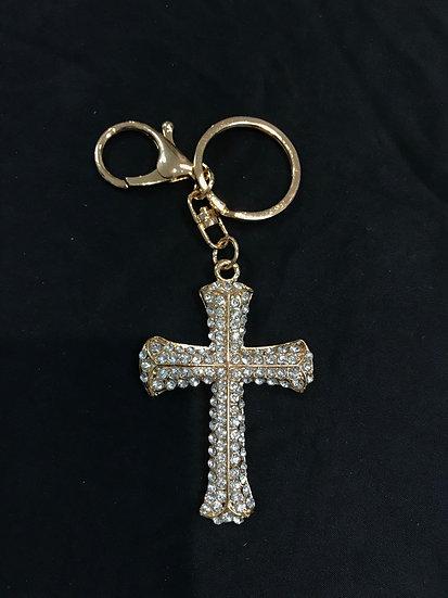 Gold Cross Key Ring