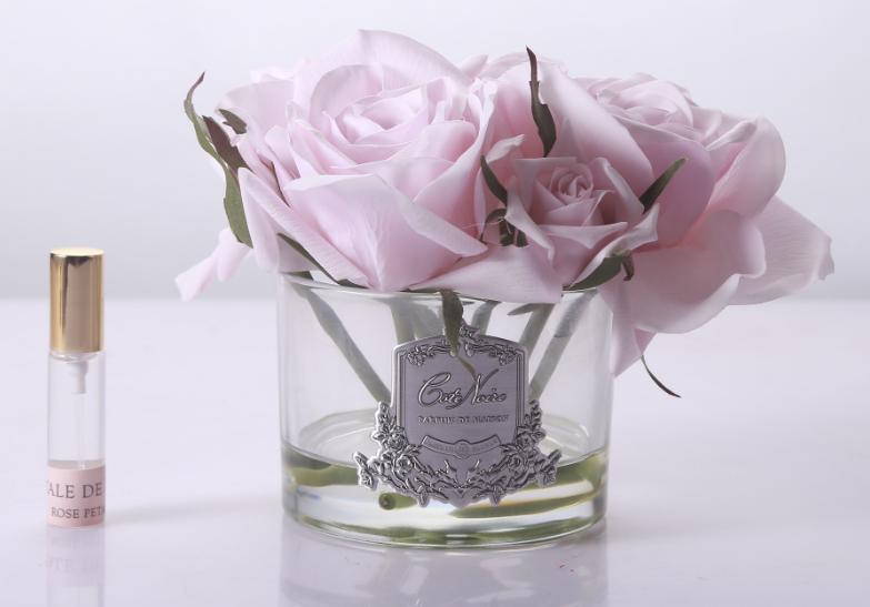 5 French pink roses in clear glass by Cote Noire