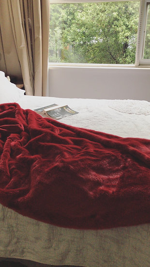 Red Wine Faux Fur Throw