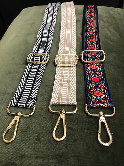 Patterned nylon bag straps