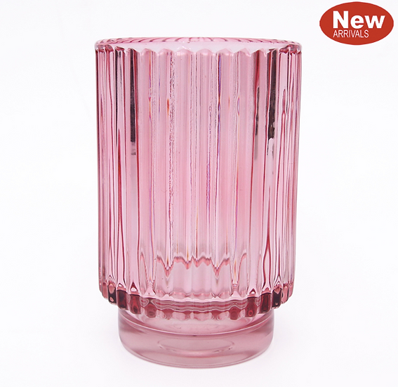 Pink glass votive holder 13cm x 8.8cm