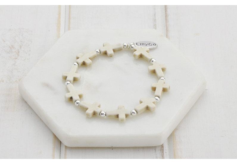 Cream Cross Bracelet