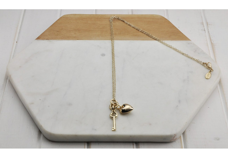 """Gold """"Key To My Heart"""" Necklace"""