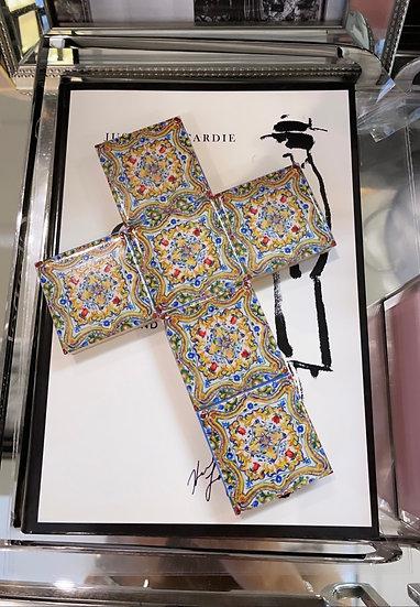 Multi coloured mini ceramic cross