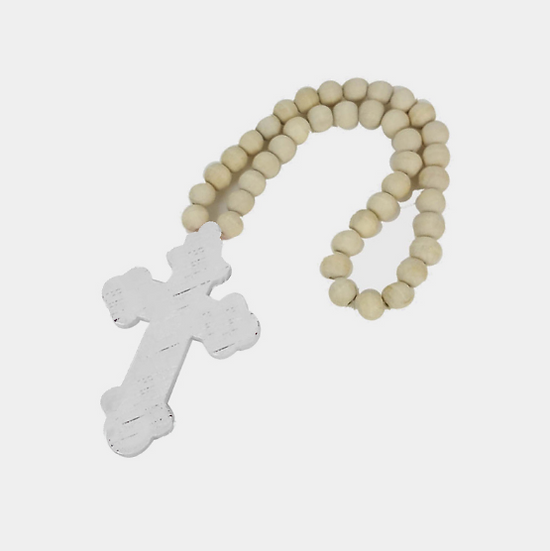 Wooden Beads with Cross - White