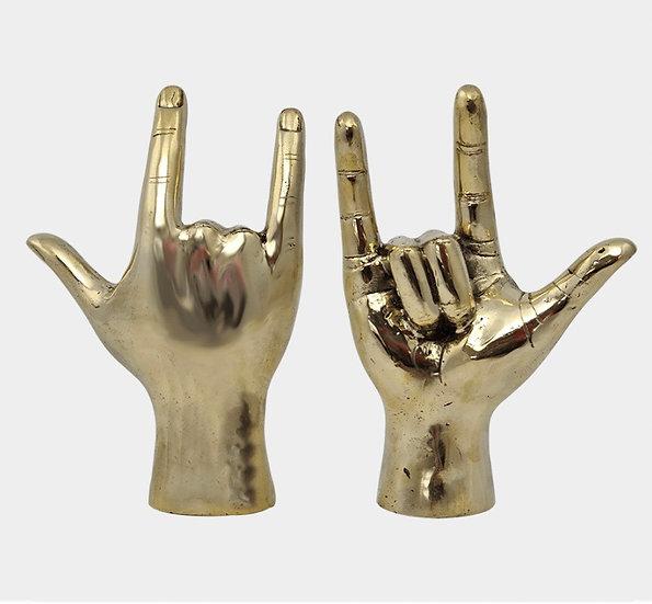I love you brass hand