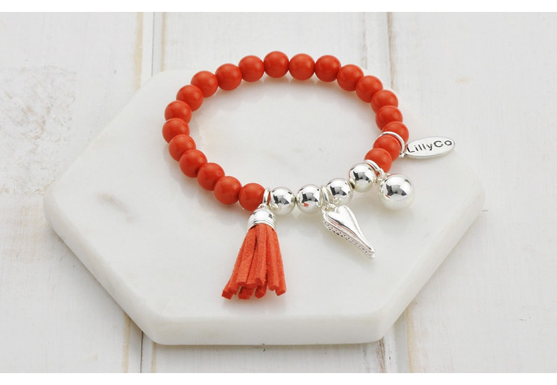 Coral and Silver Beads With Silver Tassel and Heart Bracelet LillyCo