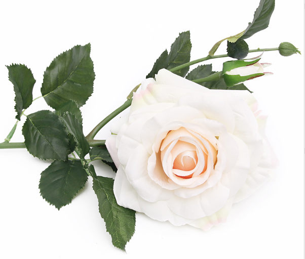 White rose with bud 65cm