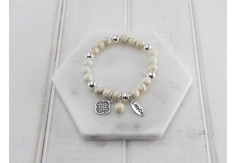 Semi-Precious Cream Stones Bracelet LillyCo