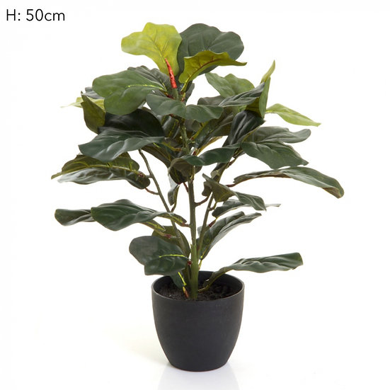 artificial fiddle leaf plant black pot
