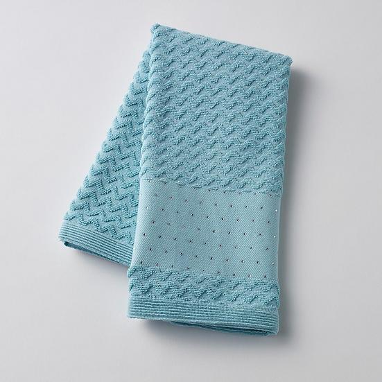 Zig Zag Aqua with Diamante Trim Jacquard Hand Towel