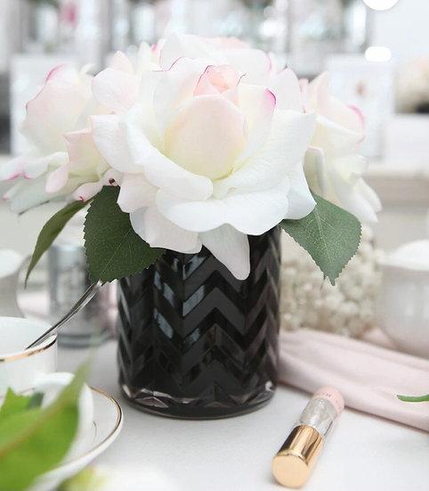 Black Herringbone Blush Flower by Cote Noire