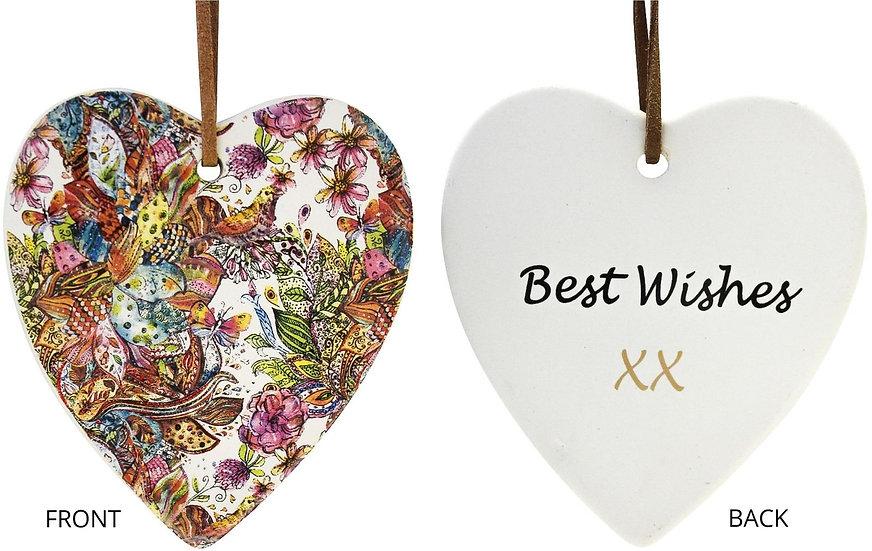 Hanging Ceramic Heart - Boho