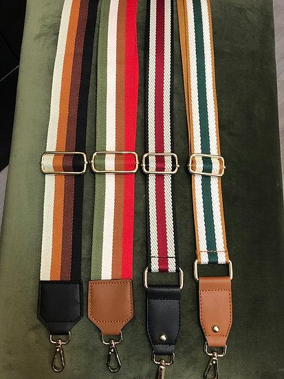 Striped nylon bag straps