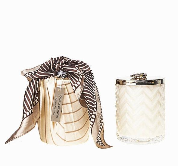 Herringbone candle with scarf Blonde Vanilla - Cream & Golden Bee lid