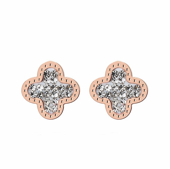 Silver & Rose Gold Rhinestone Cross Earrings