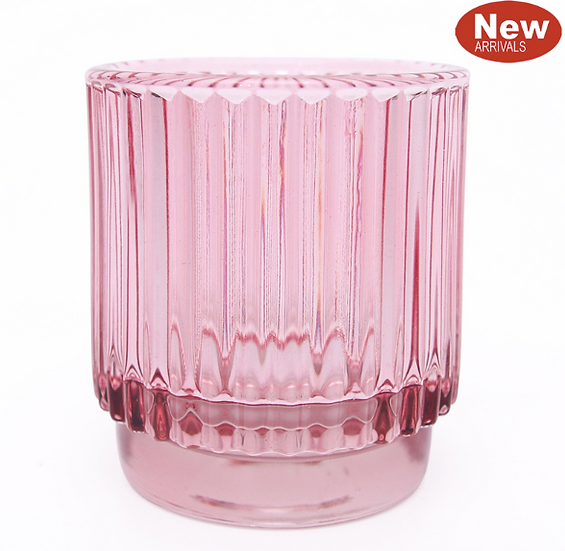 Pink glass votive holder 8cm x 7cm