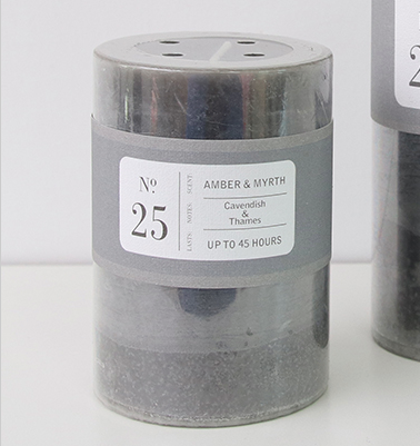 Scented Pillar Candle - Amber and Myrth