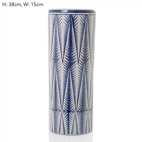 blue and white ceramic vase hermes