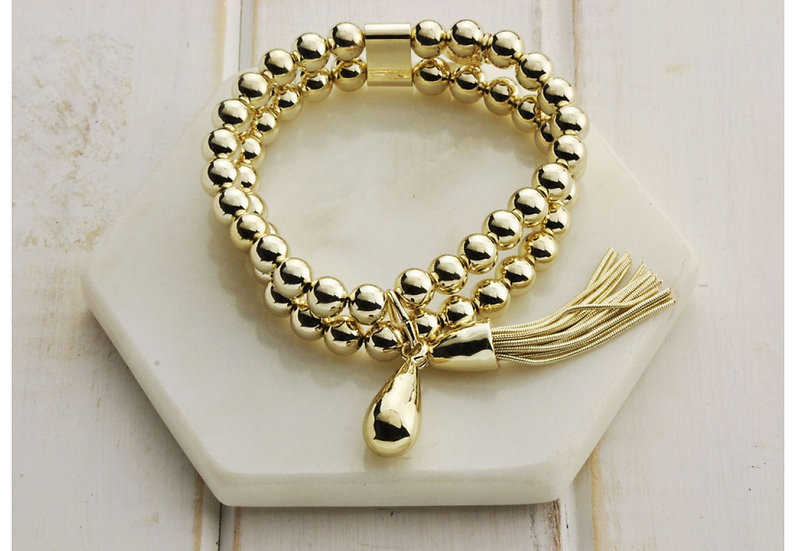 Gold Double Bead Bracelet - Large LillyCo