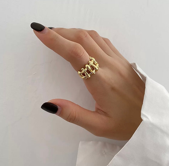 Shut the gate ring - triple gold plated 925 silver
