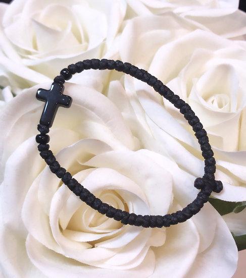 Prayer Rope Bracelet - Black Cross