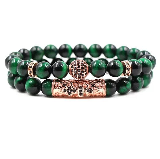 Green tiger eye bracelet set - unisex