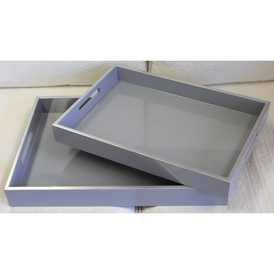 Set 2 Grey Silver Trays