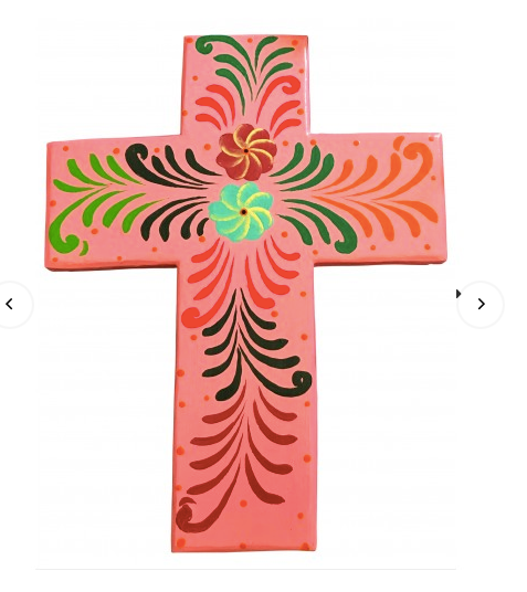 Hand Painted Cross - 28x40 - Large Pink