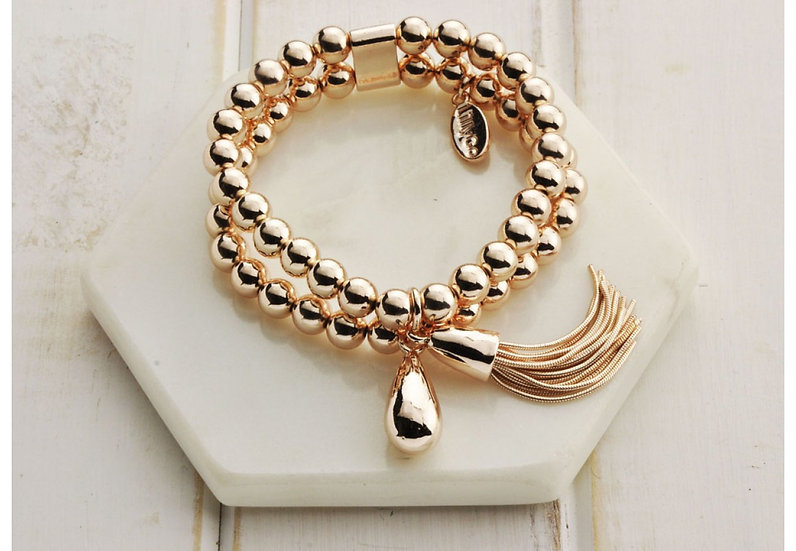 Rose Gold Double Bead Bracelet - Large LillyCo