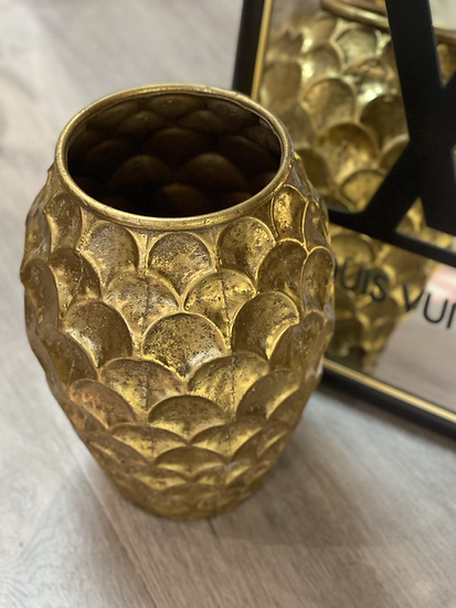 Gold urn - turtle shell - medium